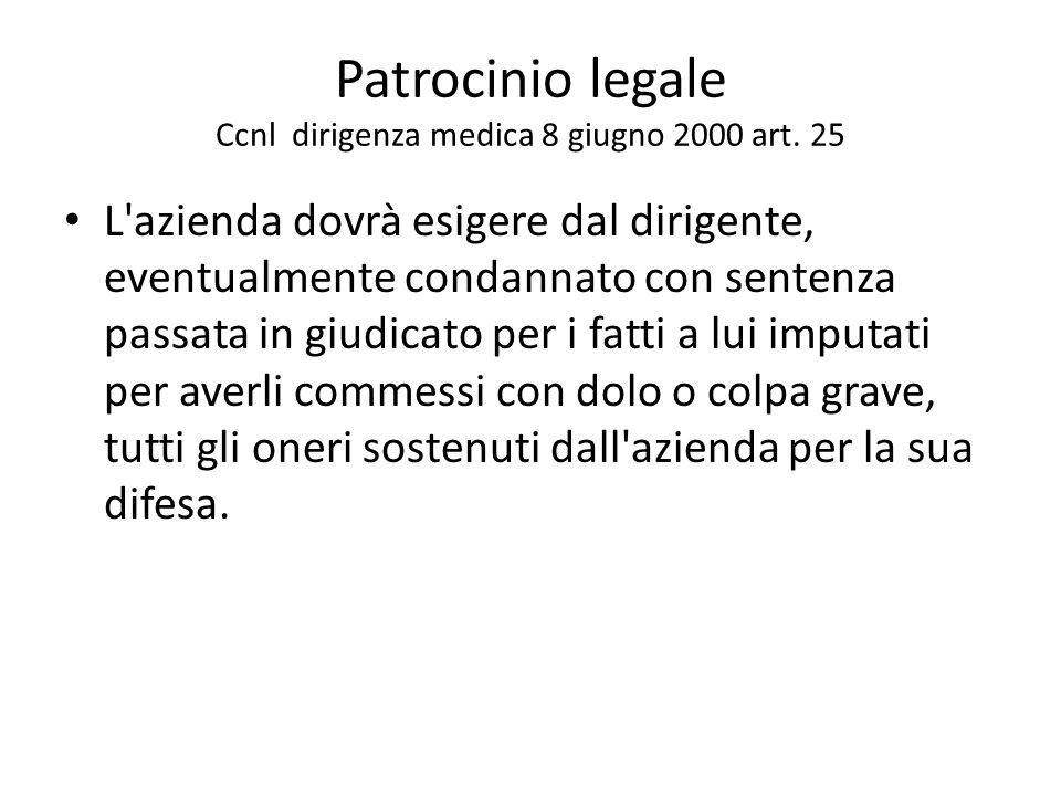 Patrocinio legale Ccnl dirigenza medica 8 giugno 2000 art. 25 L'azienda dovrà esigere dal dirigente, eventualmente condannato con sentenza passata in