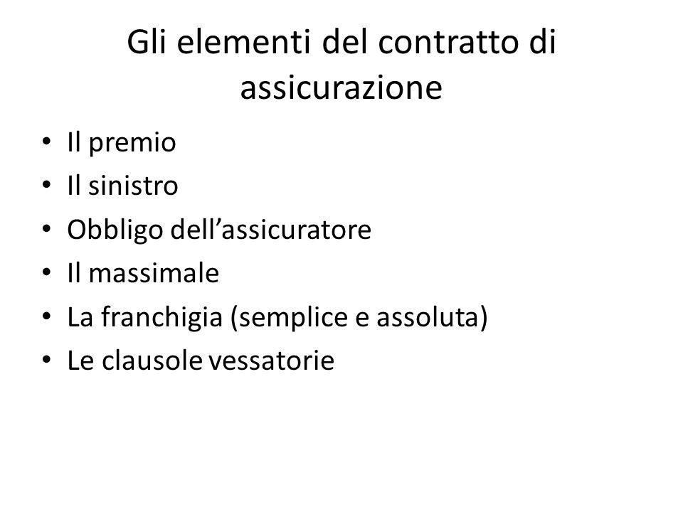 Gli elementi del contratto di assicurazione Il premio Il sinistro Obbligo dell'assicuratore Il massimale La franchigia (semplice e assoluta) Le clausole vessatorie