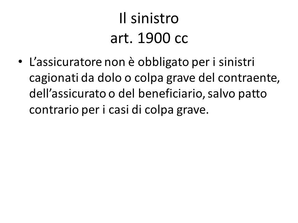 Il sinistro art. 1900 cc L'assicuratore non è obbligato per i sinistri cagionati da dolo o colpa grave del contraente, dell'assicurato o del beneficia