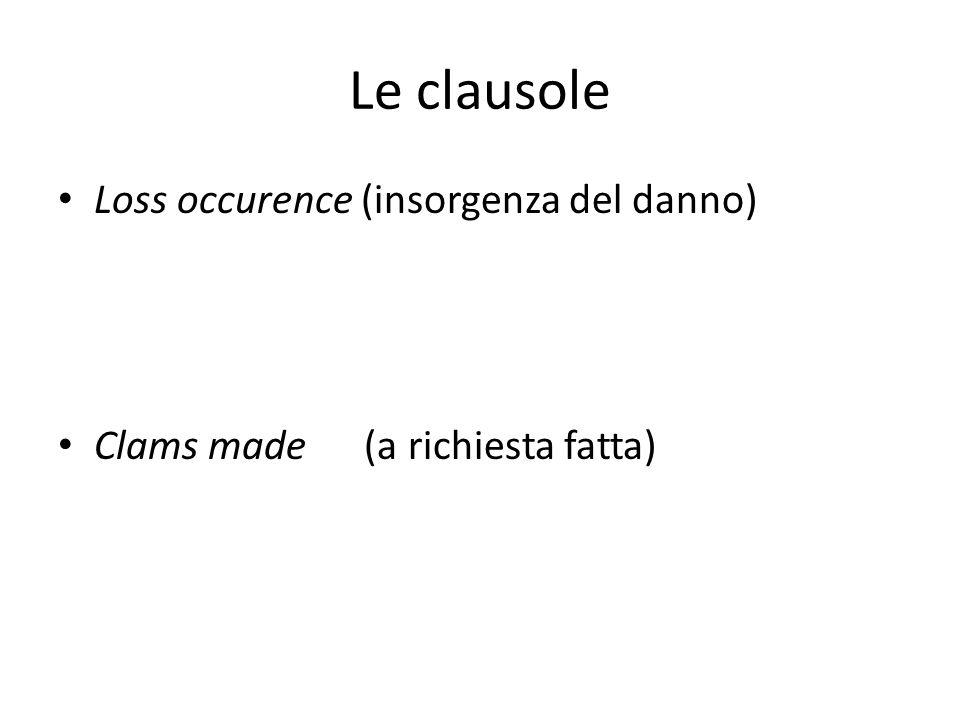 Le clausole Loss occurence (insorgenza del danno) Clams made (a richiesta fatta)