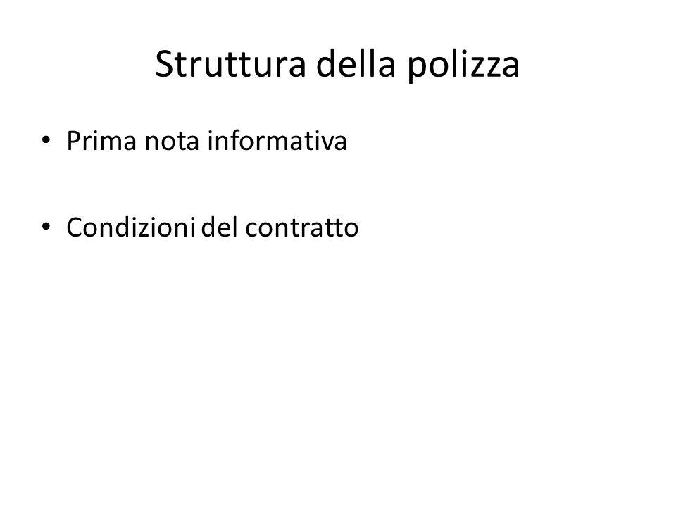 Struttura della polizza Prima nota informativa Condizioni del contratto