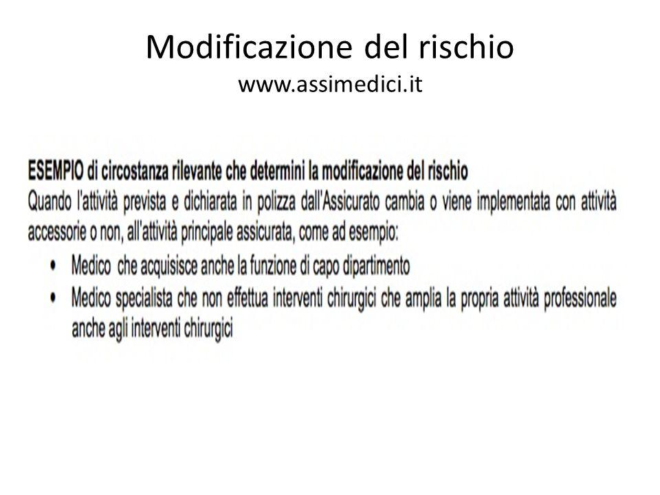 Modificazione del rischio www.assimedici.it
