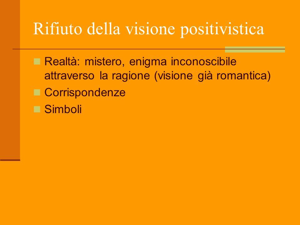 Rifiuto della visione positivistica Realtà: mistero, enigma inconoscibile attraverso la ragione (visione già romantica) Corrispondenze Simboli