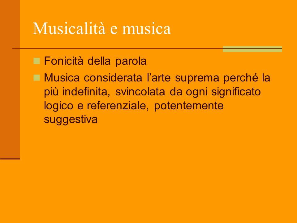 Musicalità e musica Fonicità della parola Musica considerata l'arte suprema perché la più indefinita, svincolata da ogni significato logico e referenz