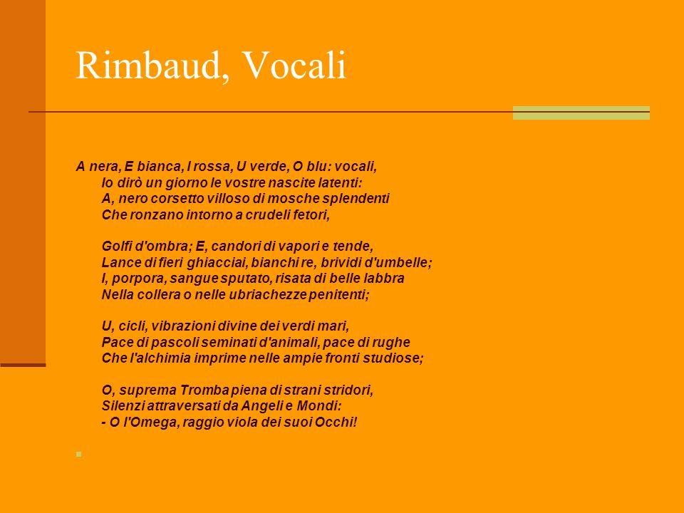 Rimbaud, Vocali A nera, E bianca, I rossa, U verde, O blu: vocali, Io dirò un giorno le vostre nascite latenti: A, nero corsetto villoso di mosche spl