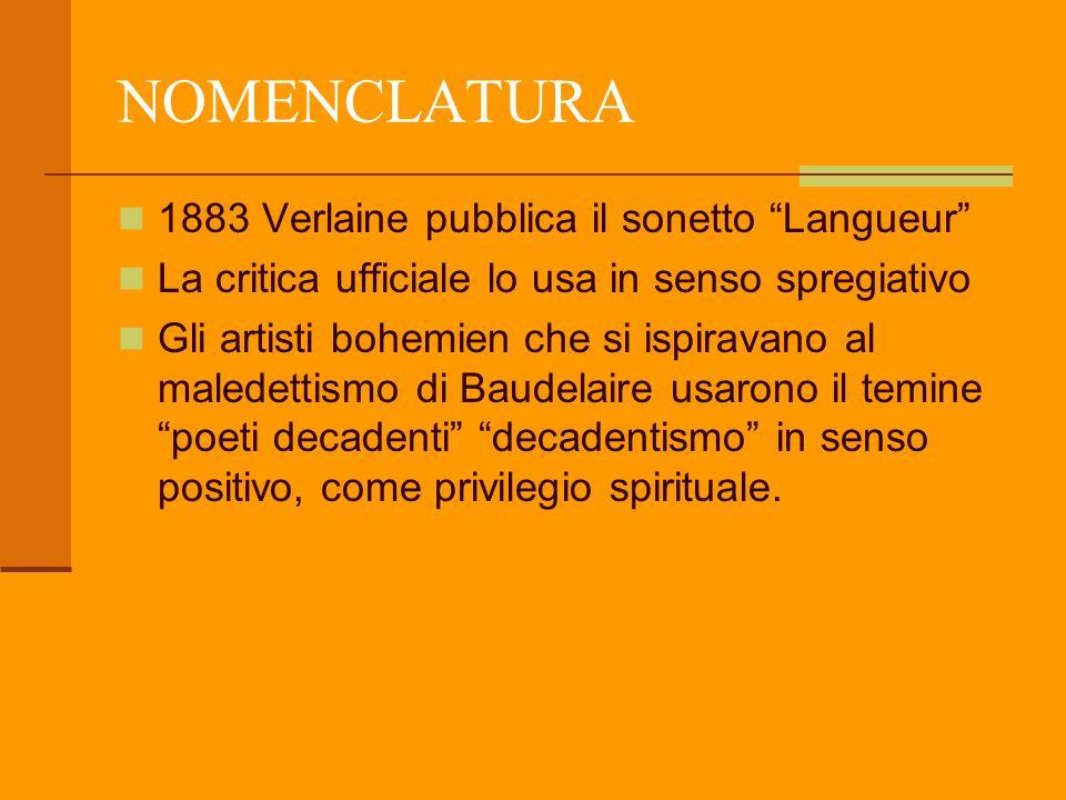 """NOMENCLATURA 1883 Verlaine pubblica il sonetto """"Langueur"""" La critica ufficiale lo usa in senso spregiativo Gli artisti bohemien che si ispiravano al m"""