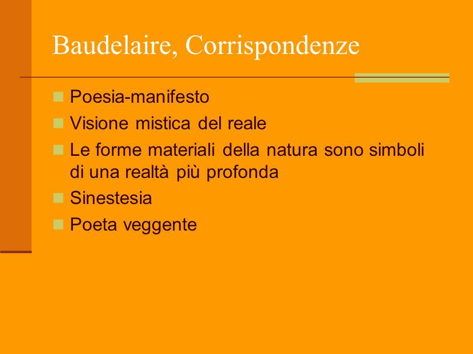 Baudelaire, Corrispondenze Poesia-manifesto Visione mistica del reale Le forme materiali della natura sono simboli di una realtà più profonda Sinestes