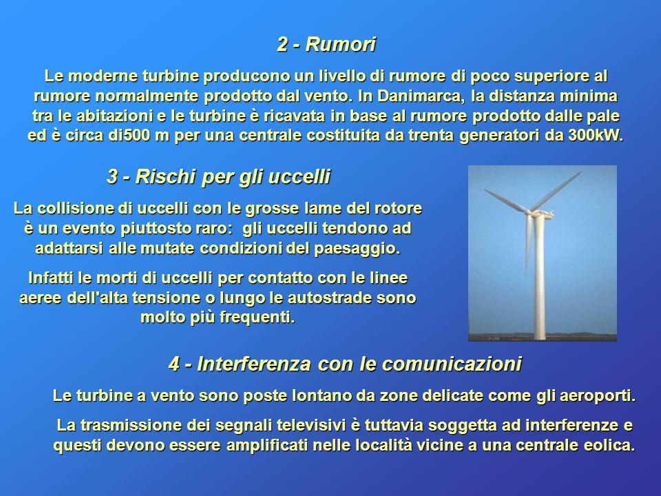 Rumori 2 - Rumori Le moderne turbine producono un livello di rumore di poco superiore al rumore normalmente prodotto dal vento. In Danimarca, la dista