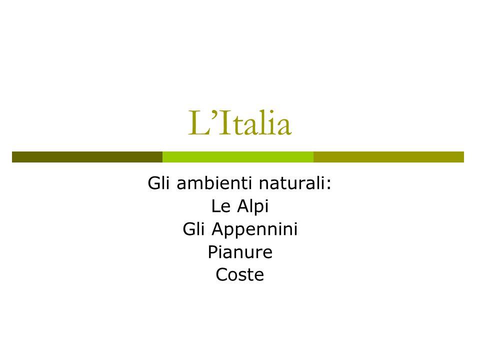 L'Italia Gli ambienti naturali: Le Alpi Gli Appennini Pianure Coste