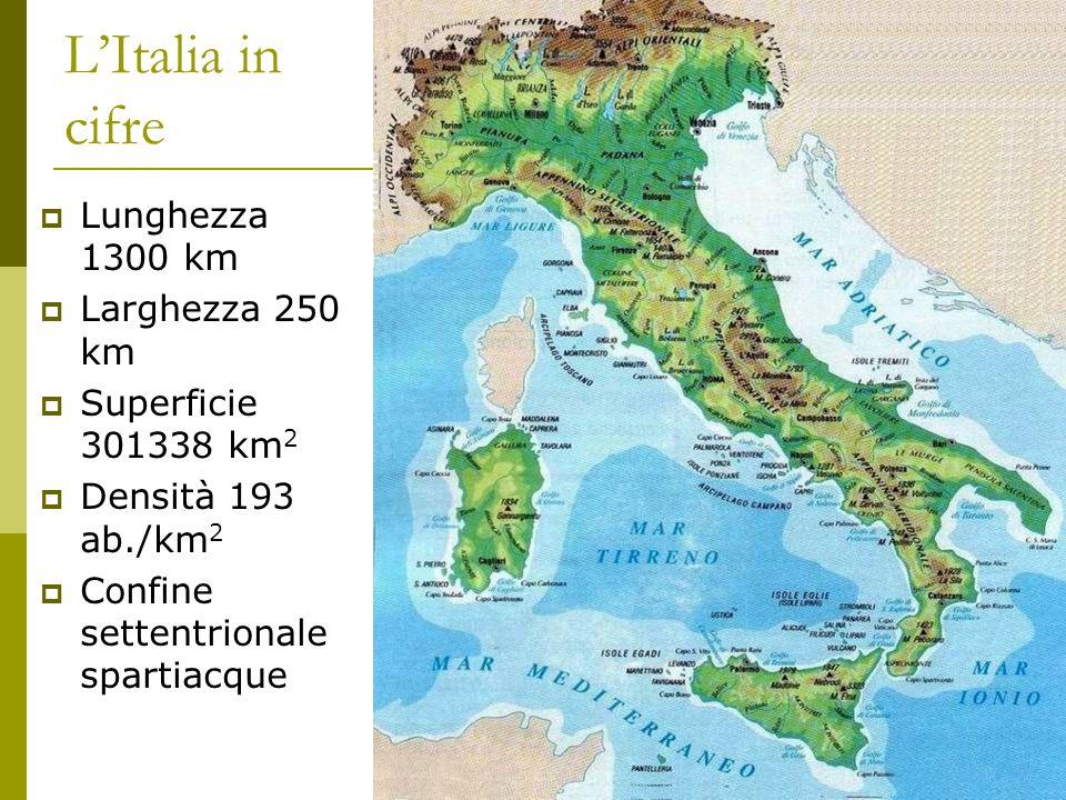 L'Italia in cifre  Lunghezza 1300 km  Larghezza 250 km  Superficie 301338 km 2  Densità 193 ab./km 2  Confine settentrionale spartiacque