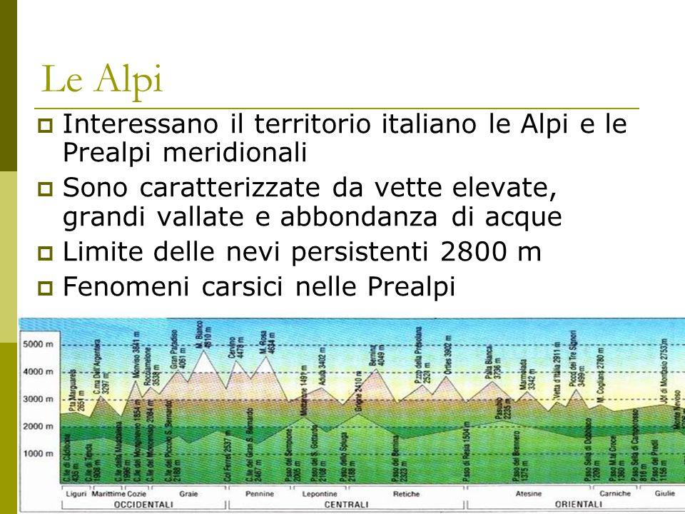 Le Alpi  Interessano il territorio italiano le Alpi e le Prealpi meridionali  Sono caratterizzate da vette elevate, grandi vallate e abbondanza di a