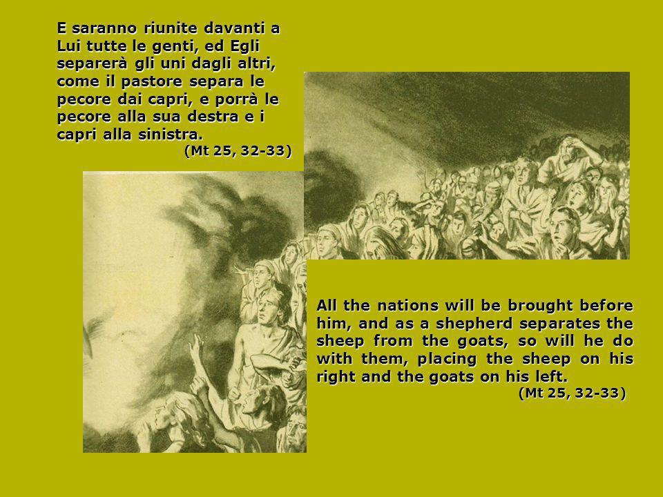 E saranno riunite davanti a Lui tutte le genti, ed Egli separerà gli uni dagli altri, come il pastore separa le pecore dai capri, e porrà le pecore alla sua destra e i capri alla sinistra.