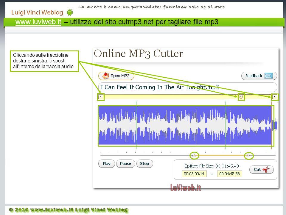 Cliccando sulle freccioline destra e sinistra, ti sposti all'interno della traccia audio www.luviweb.itwww.luviweb.it – utilizzo del sito cutmp3.net per tagliare file mp3