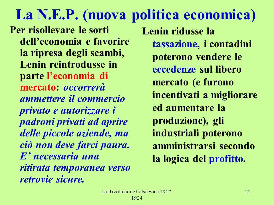 La Rivoluzione bolscevica 1917- 1924 22 La N.E.P. (nuova politica economica) Per risollevare le sorti dell'economia e favorire la ripresa degli scambi