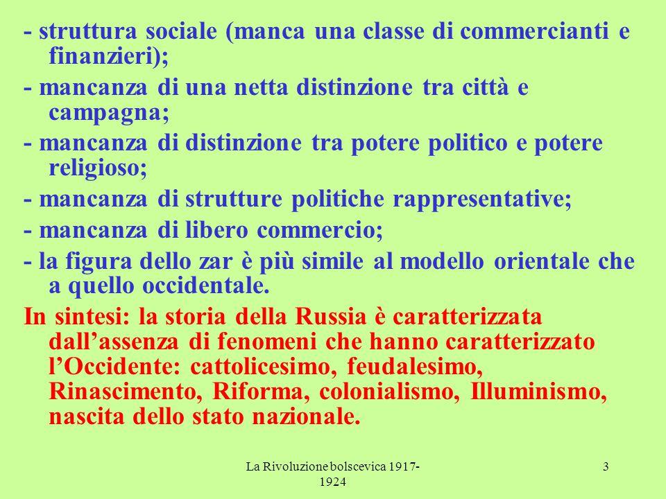 La Rivoluzione bolscevica 1917- 1924 3 - struttura sociale (manca una classe di commercianti e finanzieri); - mancanza di una netta distinzione tra ci