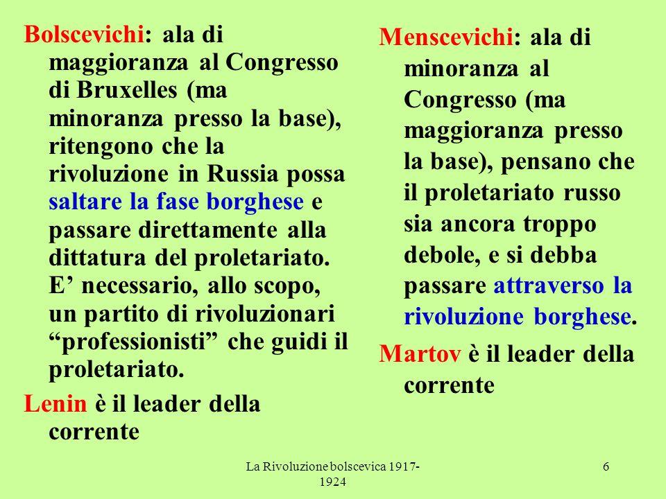 La Rivoluzione bolscevica 1917- 1924 6 Bolscevichi: ala di maggioranza al Congresso di Bruxelles (ma minoranza presso la base), ritengono che la rivol