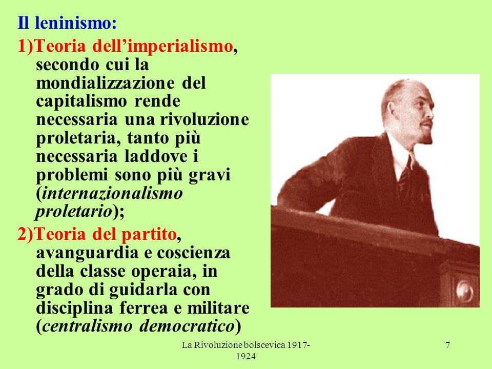 La Rivoluzione bolscevica 1917- 1924 7 Il leninismo: 1)Teoria dell'imperialismo, secondo cui la mondializzazione del capitalismo rende necessaria una