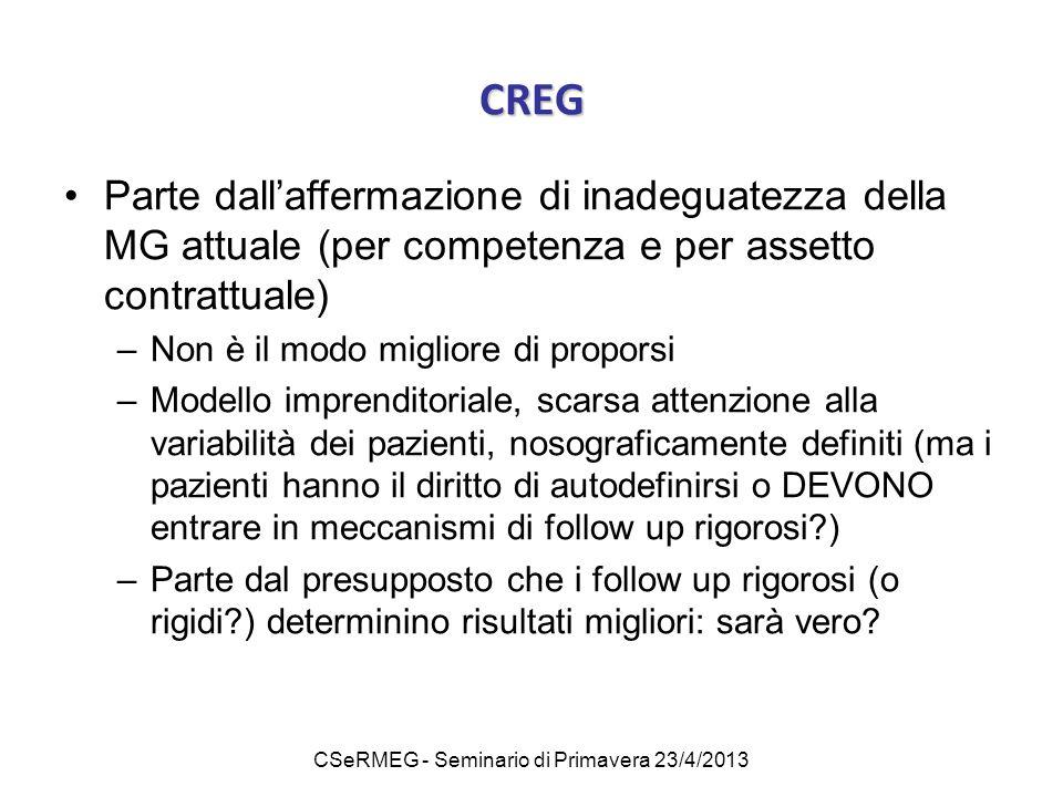 CSeRMEG - Seminario di Primavera 23/4/2013 CREG Parte dall'affermazione di inadeguatezza della MG attuale (per competenza e per assetto contrattuale)