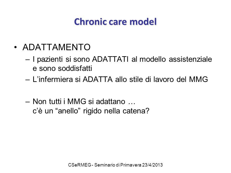 CSeRMEG - Seminario di Primavera 23/4/2013 Chronic care model ADATTAMENTO –I pazienti si sono ADATTATI al modello assistenziale e sono soddisfatti –L'infermiera si ADATTA allo stile di lavoro del MMG –Non tutti i MMG si adattano … c'è un anello rigido nella catena?