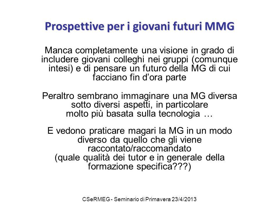 CSeRMEG - Seminario di Primavera 23/4/2013 Prospettive per i giovani futuri MMG Manca completamente una visione in grado di includere giovani colleghi