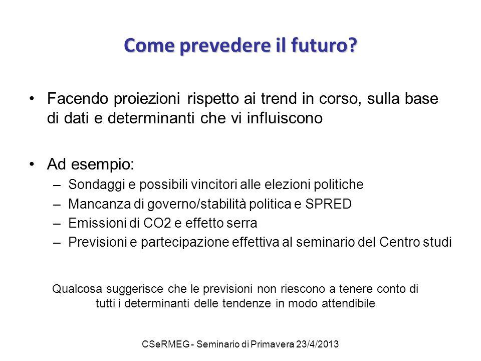 CSeRMEG - Seminario di Primavera 23/4/2013 Come prevedere il futuro? Facendo proiezioni rispetto ai trend in corso, sulla base di dati e determinanti