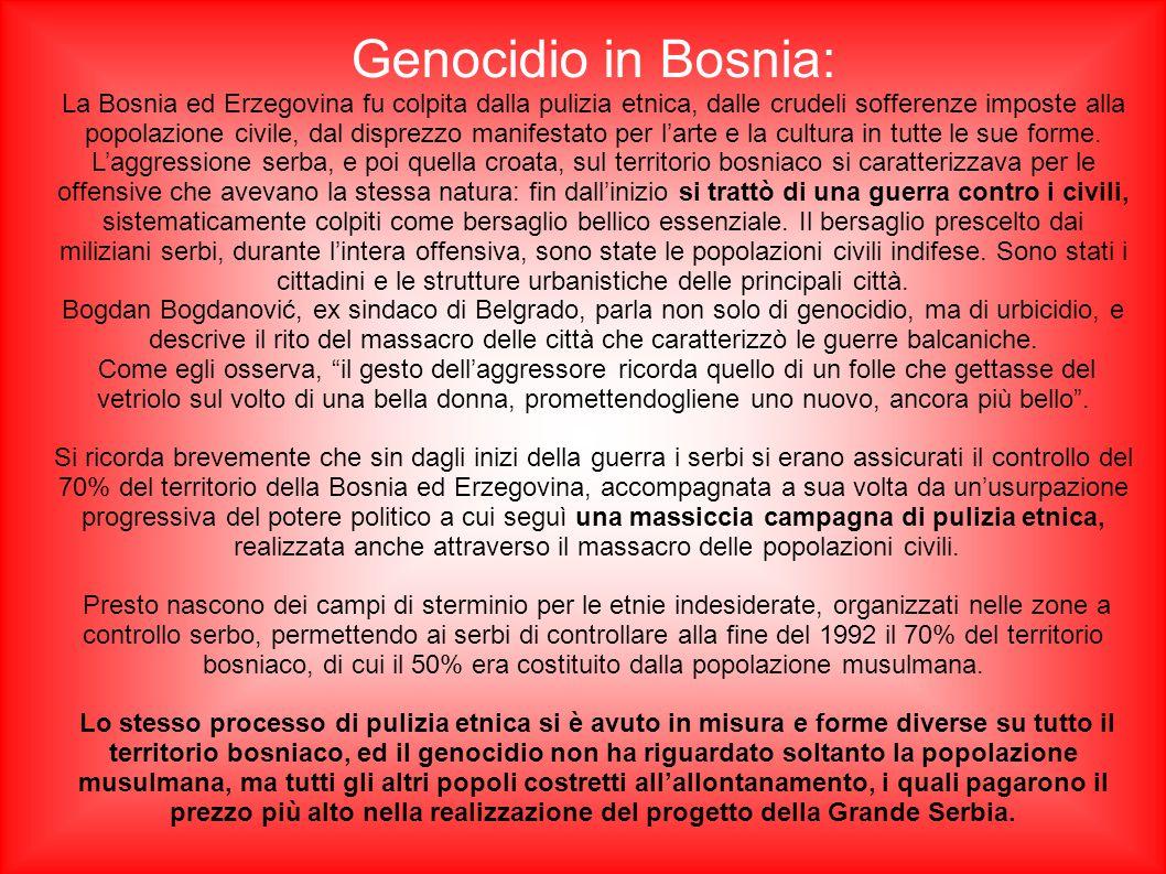 Genocidio in Bosnia: La Bosnia ed Erzegovina fu colpita dalla pulizia etnica, dalle crudeli sofferenze imposte alla popolazione civile, dal disprezzo