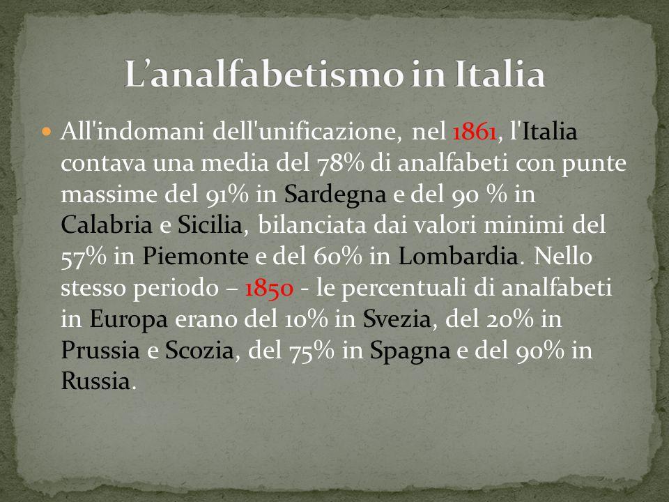 All'indomani dell'unificazione, nel 1861, l'Italia contava una media del 78% di analfabeti con punte massime del 91% in Sardegna e del 90 % in Calabri