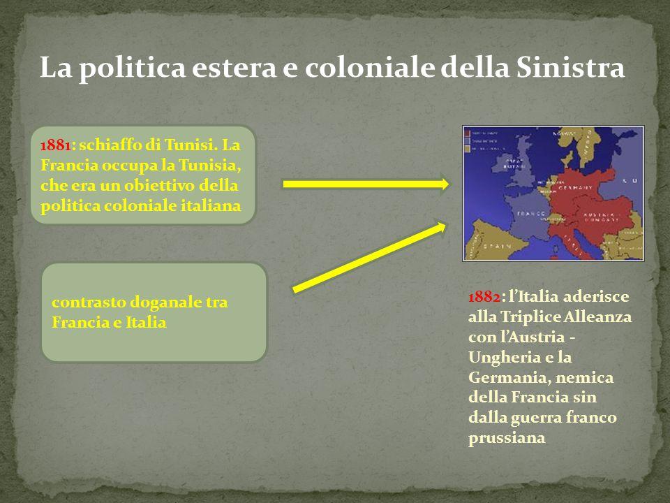 La politica estera e coloniale della Sinistra 1881: schiaffo di Tunisi. La Francia occupa la Tunisia, che era un obiettivo della politica coloniale it