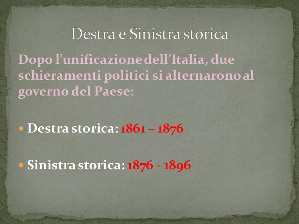 Dopo l'unificazione dell'Italia, due schieramenti politici si alternarono al governo del Paese: Destra storica: 1861 – 1876 Sinistra storica: 1876 - 1
