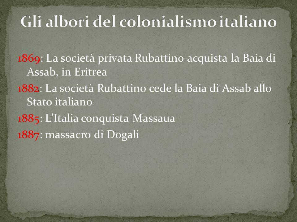 1869: La società privata Rubattino acquista la Baia di Assab, in Eritrea 1882: La società Rubattino cede la Baia di Assab allo Stato italiano 1885: L'