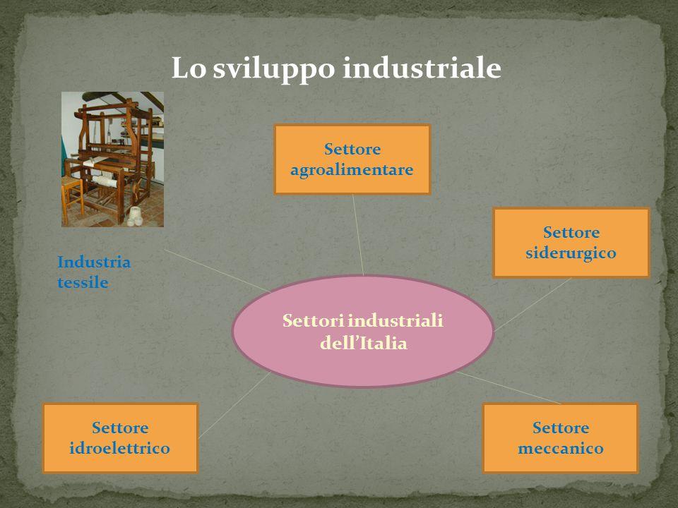 Lo sviluppo industriale Settori industriali dell'Italia Industria tessile Settore agroalimentare Settore siderurgico Settore idroelettrico Settore mec
