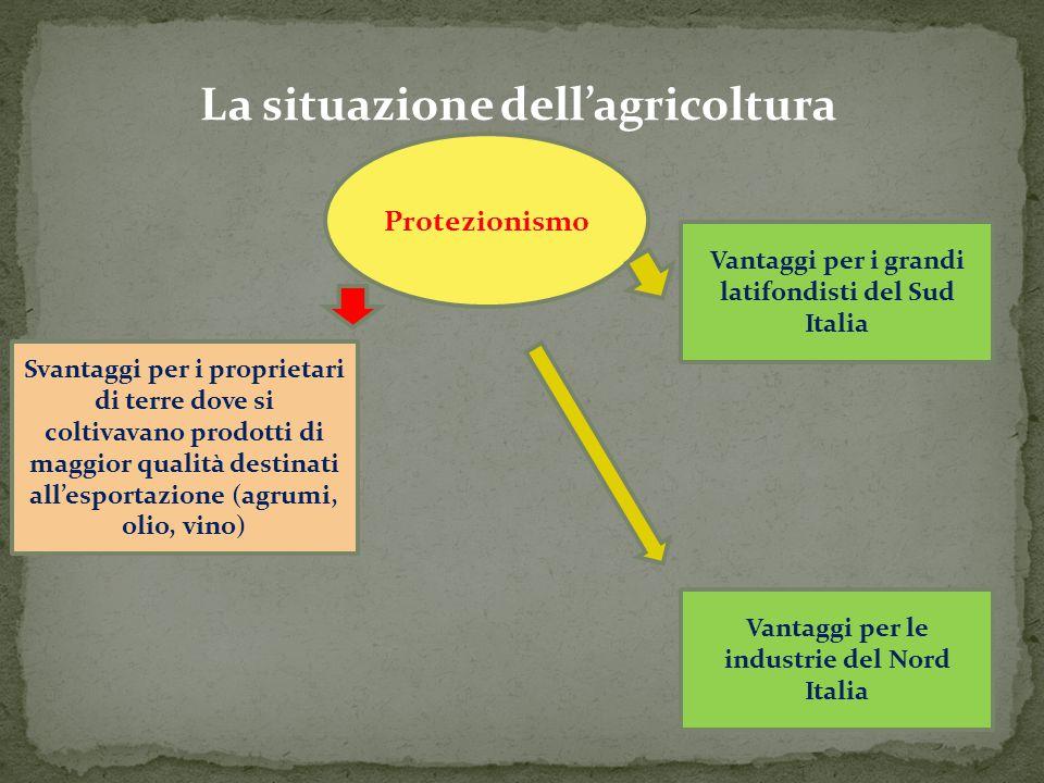 La situazione dell'agricoltura Protezionismo Vantaggi per i grandi latifondisti del Sud Italia Vantaggi per le industrie del Nord Italia Svantaggi per
