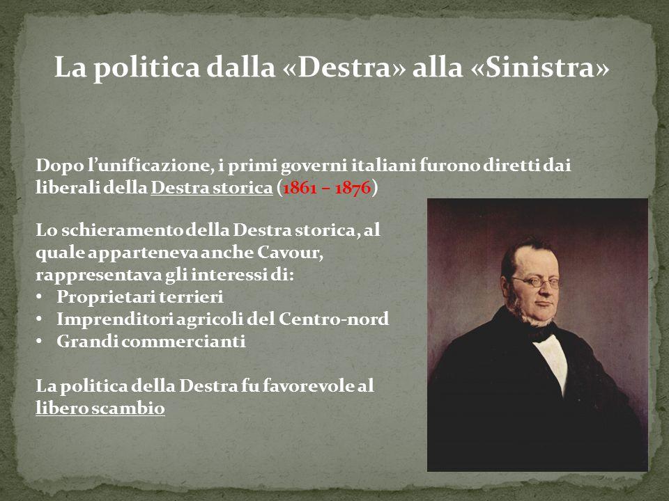 La politica dalla «Destra» alla «Sinistra» Dopo l'unificazione, i primi governi italiani furono diretti dai liberali della Destra storica (1861 – 1876