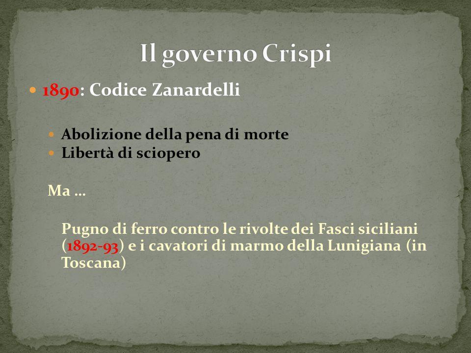 1890: Codice Zanardelli Abolizione della pena di morte Libertà di sciopero Ma … Pugno di ferro contro le rivolte dei Fasci siciliani (1892-93) e i cav