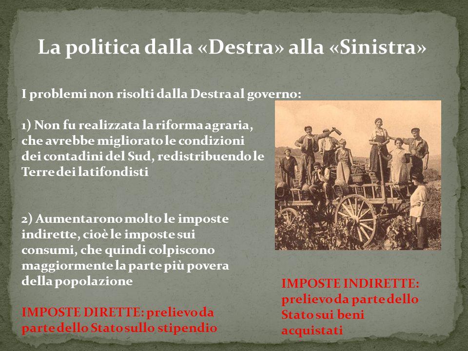 La politica dalla «Destra» alla «Sinistra» I problemi non risolti dalla Destra al governo: 1) Non fu realizzata la riforma agraria, che avrebbe miglio