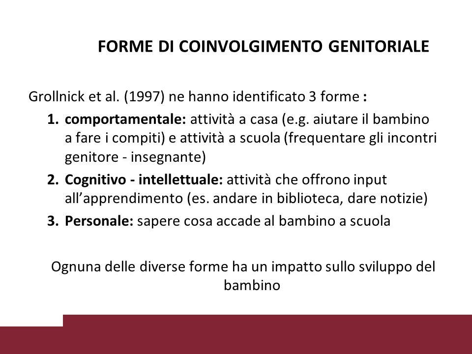 Grollnick et al.(1997) ne hanno identificato 3 forme : 1.comportamentale: attività a casa (e.g.