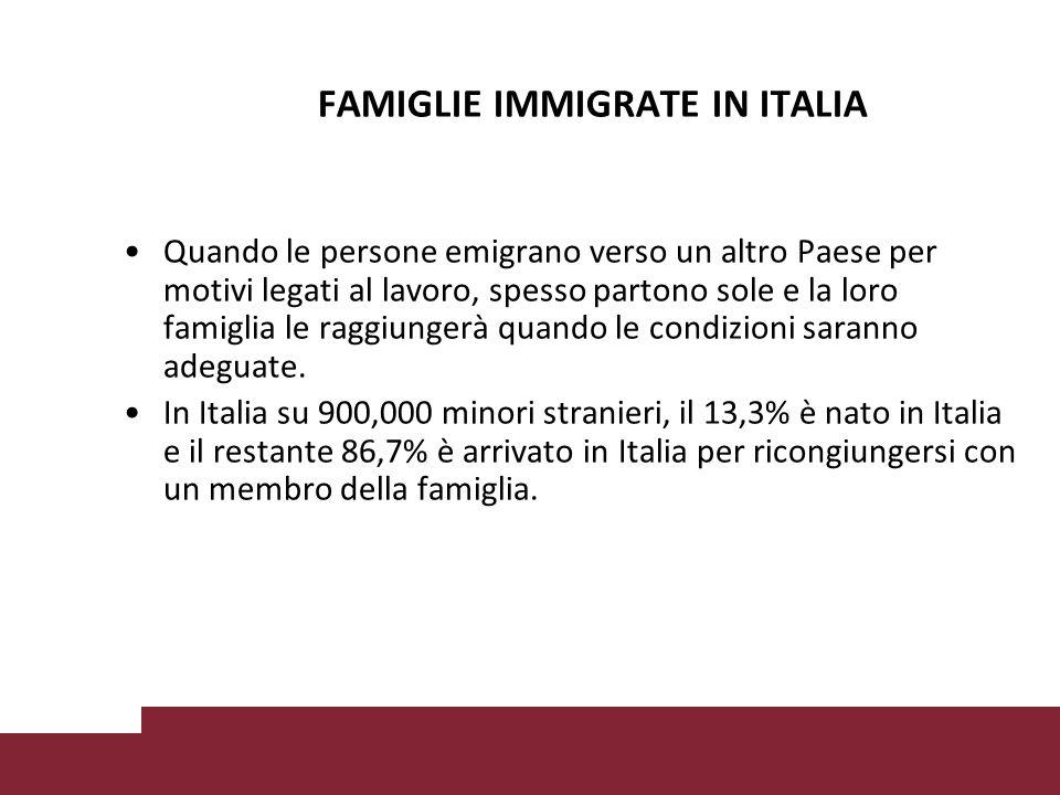 FAMIGLIE IMMIGRATE IN ITALIA Quando le persone emigrano verso un altro Paese per motivi legati al lavoro, spesso partono sole e la loro famiglia le raggiungerà quando le condizioni saranno adeguate.