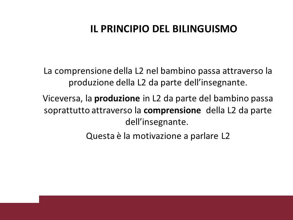 IL PRINCIPIO DEL BILINGUISMO La comprensione della L2 nel bambino passa attraverso la produzione della L2 da parte dell'insegnante.