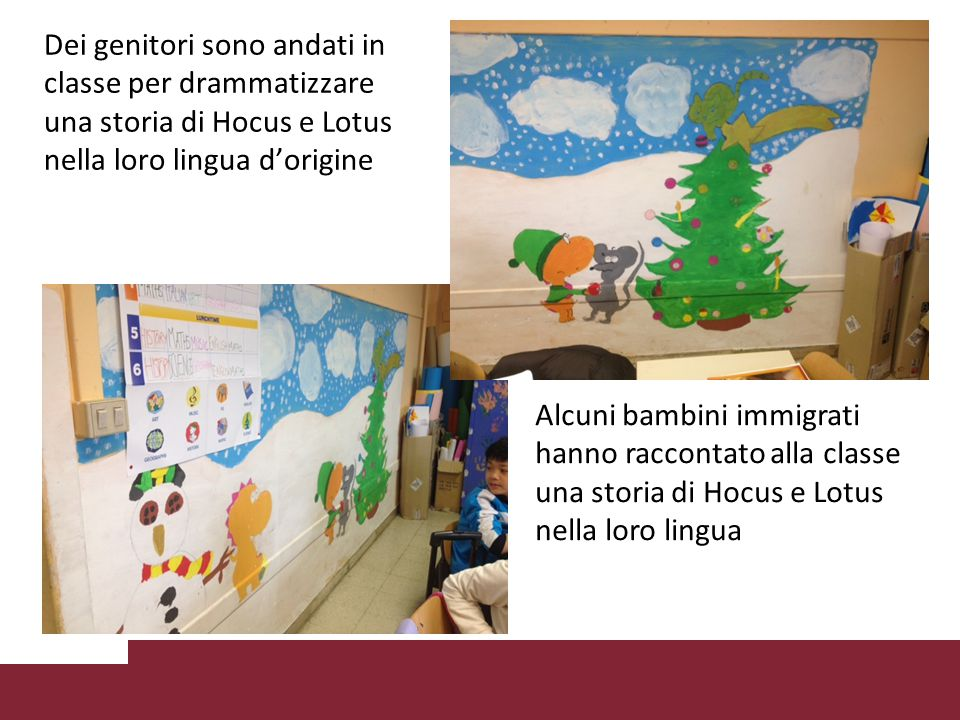 Dei genitori sono andati in classe per drammatizzare una storia di Hocus e Lotus nella loro lingua d'origine Alcuni bambini immigrati hanno raccontato alla classe una storia di Hocus e Lotus nella loro lingua