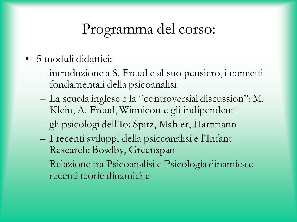 Programma del corso: 5 moduli didattici: –introduzione a S. Freud e al suo pensiero, i concetti fondamentali della psicoanalisi –La scuola inglese e l