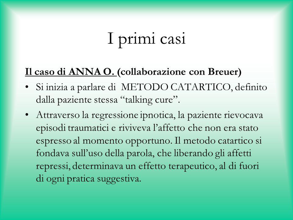 """I primi casi Il caso di ANNA O. (collaborazione con Breuer) Si inizia a parlare di METODO CATARTICO, definito dalla paziente stessa """"talking cure"""". At"""