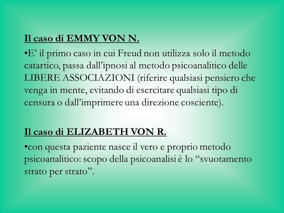 Il caso di EMMY VON N. E' il primo caso in cui Freud non utilizza solo il metodo catartico, passa dall'ipnosi al metodo psicoanalitico delle LIBERE AS