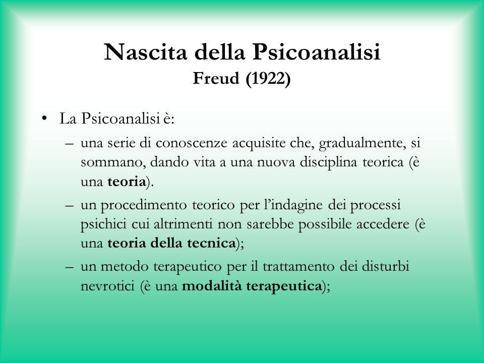 Nascita della Psicoanalisi Freud (1922) La Psicoanalisi è: –una serie di conoscenze acquisite che, gradualmente, si sommano, dando vita a una nuova di