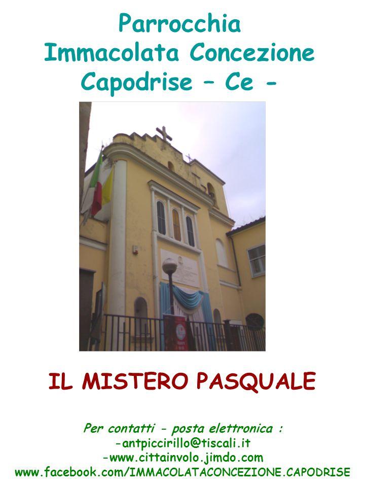 Parrocchia Immacolata Concezione Capodrise – Ce - IL MISTERO PASQUALE Per contatti - posta elettronica : -antpiccirillo@tiscali.it -www.cittainvolo.jimdo.com www.facebook.com/ IMMACOLATACONCEZIONE.CAPODRISE