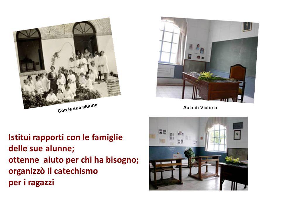 Negli otto anni che rimase ad Hornachuelos, Victoria seppe organizzare e dare grande impulso alla Azione Cattolica Programmò corsi serali per donne ch