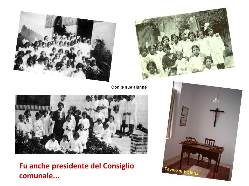 Istituì rapporti con le famiglie delle sue alunne; ottenne aiuto per chi ha bisogno; organizzò il catechismo per i ragazzi Aula di Victoria Con le sue alunne