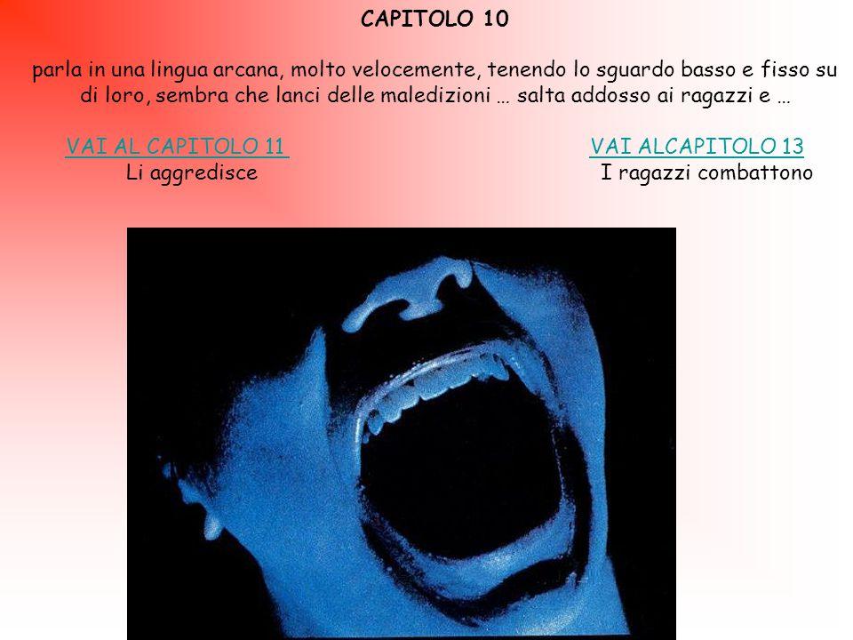 CAPITOLO 10 parla in una lingua arcana, molto velocemente, tenendo lo sguardo basso e fisso su di loro, sembra che lanci delle maledizioni … salta addosso ai ragazzi e … VAI AL CAPITOLO 11 VAI AL CAPITOLO 11 VAI ALCAPITOLO 13VAI ALCAPITOLO 13 Li aggredisce I ragazzi combattono