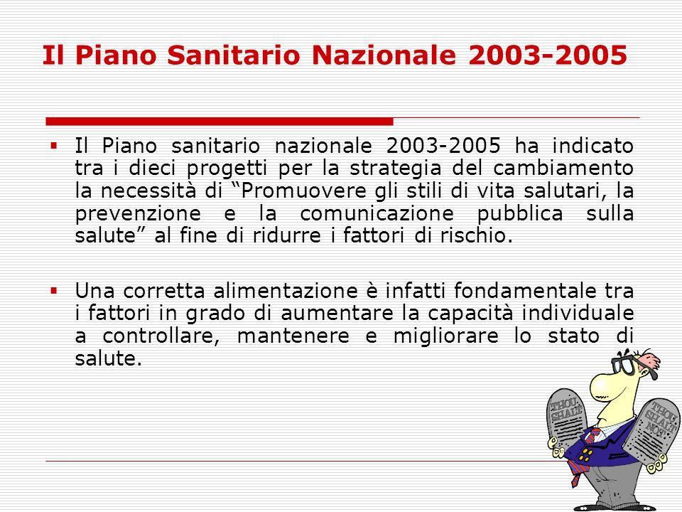 Il Piano Sanitario Nazionale 2003-2005  Il Piano sanitario nazionale 2003-2005 ha indicato tra i dieci progetti per la strategia del cambiamento la n