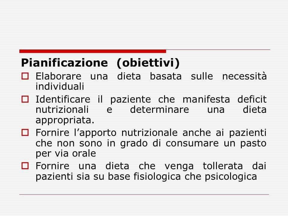 Pianificazione (obiettivi)  Elaborare una dieta basata sulle necessità individuali  Identificare il paziente che manifesta deficit nutrizionali e de
