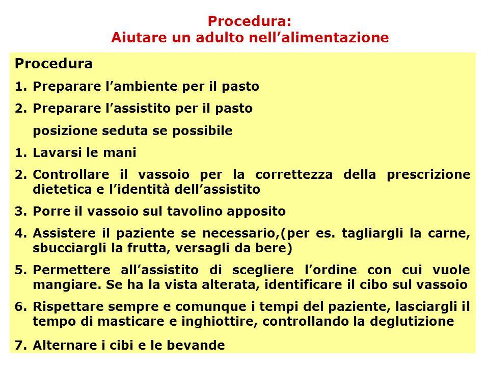 Procedura: Aiutare un adulto nell'alimentazione Procedura 1.Preparare l'ambiente per il pasto 2.Preparare l'assistito per il pasto posizione seduta se